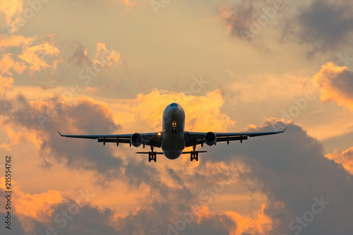 Tuinposter Vliegtuig Dark silhouette of an airplane at sunset approach in the airport of a beautiful beautiful sky.