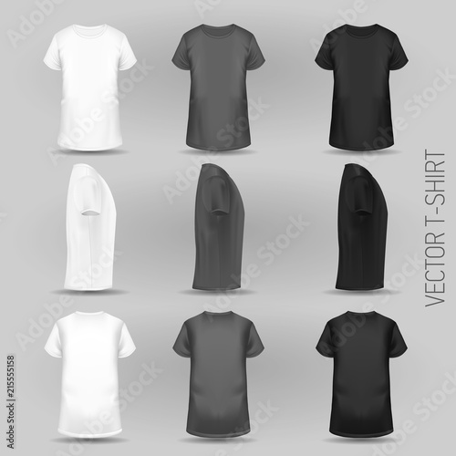 T Shirt Template In Three Dimentions Front Side And Back View