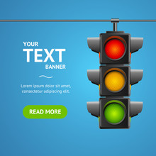 Cartoon Traffic Light Banner Card. Vector