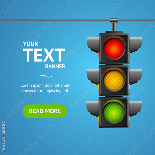 Obraz na plátně Cartoon Traffic Light Banner Card. Vector