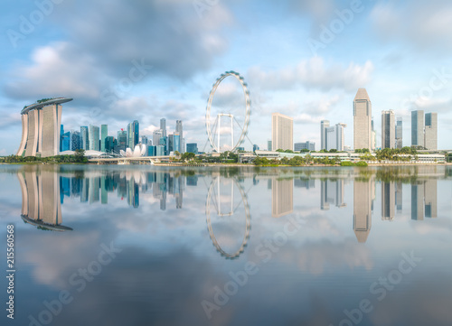 Photo  Business district and Marina bay in Singapore