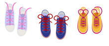 Shoelaces On Snickers Vector Shoestring Or Shoe-laces And Fashion Accessory For Footwear Or Footgear Illustration Set Of Shoes Strings Knot Or Ropeisolated On White Background