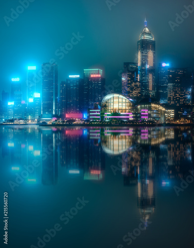 Poster Skyline of Hong Kong in mist from Kowloon, China