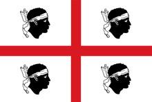 Vector Flag Of The Italian Region Sardinia.   Italy Country Flag Of Sardinia Island.