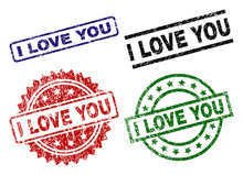 I LOVE YOU Seal Prints With Corroded Surface. Black, Green,red,blue Vector Rubber Prints Of I LOVE YOU Label With Corroded Style. Rubber Seals With Circle, Rectangle, Rosette Shapes.