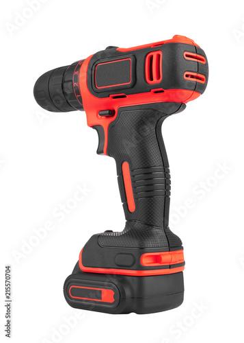 Fotografia, Obraz  Battery screwdriver or drill on white
