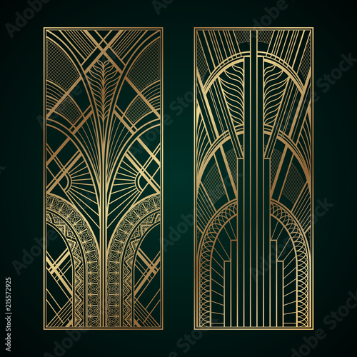 Gold art deco panels on dark green background