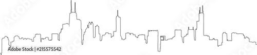 Fototapeta premium Jednoliniowy zarys pełnego panoram Chicago, w tym wszystkie słynne zabytkowe wieże. Ręcznie rysowane ilustracji wektorowych.