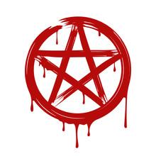 Pentagram, Blood. Vector. Isol...