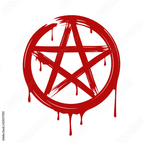 Pentagram, Blood. Vector. Isolated. Canvas Print