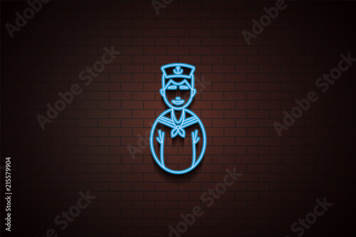 avatar sailor icon in neon style  One of Avatars collection