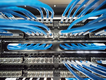 Network Wire Cable In Rack Cabinet
