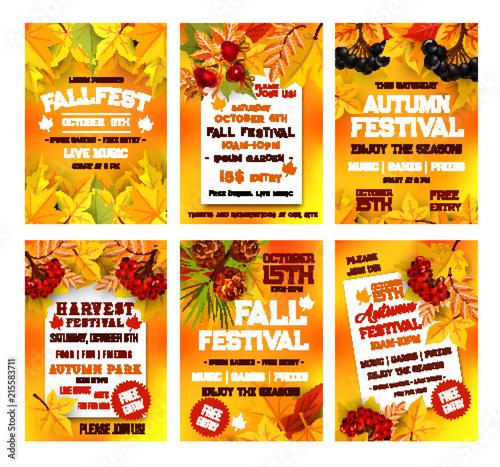Autumn harvest festival poster template set design © Vector Tradition