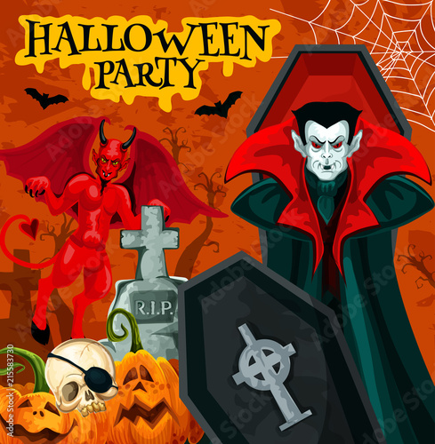 Halloween night party poster with horror vampire © Vector Tradition