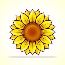 Vector Yellow Sunflower Icon Design