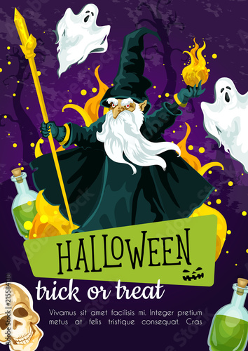 Halloween holiday greeting poster with evil wizard © Vector Tradition