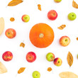 Thanksgiving autumn background with fall dried leaves, apples and pumpkin on white background. Flat lay, top view