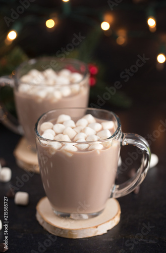 Hot Chocolate on a Table set for the Holidays