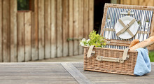 Open Vintage Fitted Picnic Hamper With Baguettes