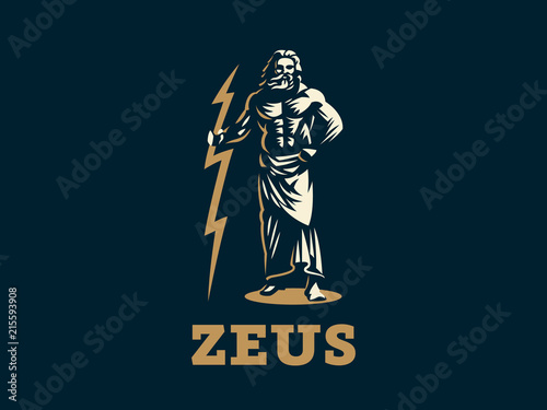 Photo  The Greek god Zeus. Zeus stands with lightning in his hands.