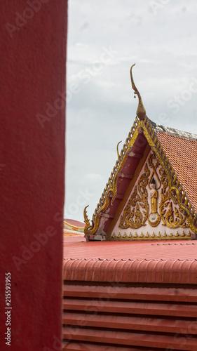 Deurstickers Bedehuis Red temple roof