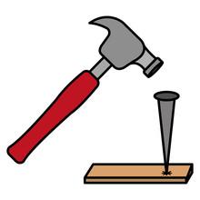 Hammering Nail In Wood