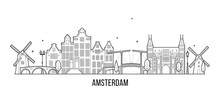 Amsterdam Skyline Netherlands Vector City Building