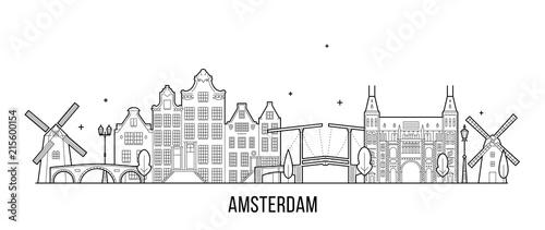 Amsterdam skyline Netherlands vector city building