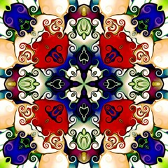 Computer graphics. Illustration of an abstract floral background, psychedelic symmetrical ornament. Traditional oriental mosaic for design, carpet pattern, chasing, wallpaper. tapestry