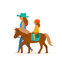 Small Girl Riding Pony Vector ...