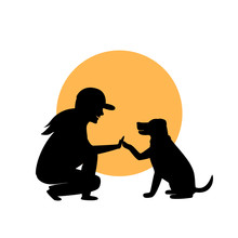 Woman And Dog Greeting Silhoue...