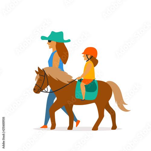 Fotografía small girl riding pony vector graphic