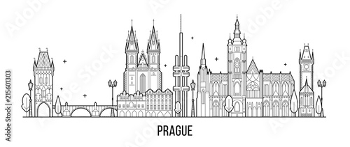Prague skyline Czech Republic city building vector Canvas Print