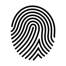Human Fingerprint / Finger Print Or Biometric Scan Line Art Vector Icon For Apps And Websites