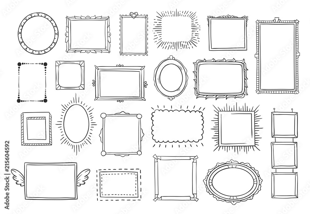 Fototapety, obrazy: Hand drawn frames. Vintage doodle sketch picture frame. Blank black square cadre sketches painted by hands vector set