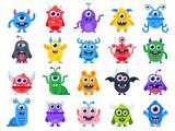 Fototapeta Fototapety na ścianę do pokoju dziecięcego - Cute cartoon monsters. Comic halloween joyful monster characters. Funny devil, ugly alien and smile creature flat vector set