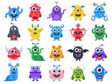 Cute Cartoon Monsters. Comic H...
