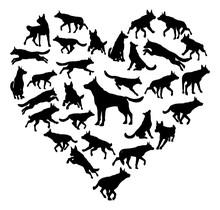 German Shepard Alsatian Dog Heart Concept