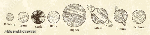 Photo Solar system planets engraving