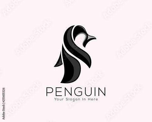 abstract fun penguin animal art logo vector Canvas Print