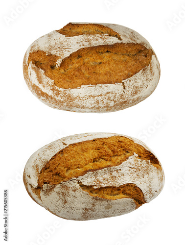 Montage in der Fensternische Brot Freshly Baked Traditional Bread Isolated