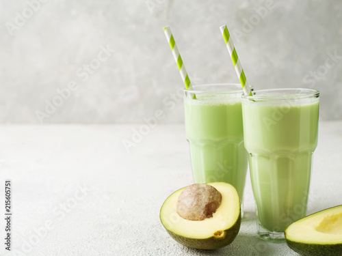Clean eating. Avocado smoothie in glass
