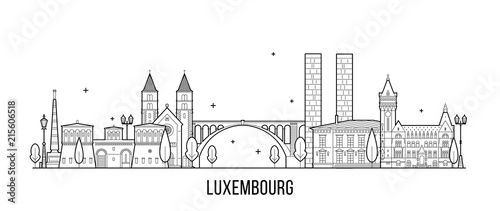 Fotografie, Obraz  Luxembourg city skyline city buildings vector