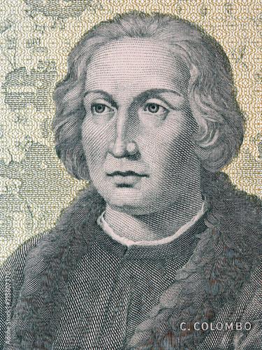 Obraz na plátně Christopher Columbus portrait from old Italian money