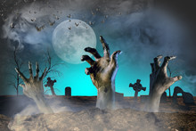 Zombie Hand Sticking Out Of The Ground Halloween Background