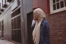 Hijab Woman Talking On Mobile Phone