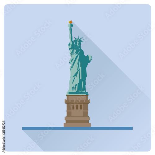 Obraz na płótnie Statue of Liberty at New York flat design long shadow vector illustration