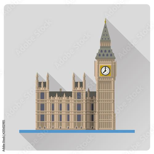 Photo Big Ben at London, England, flat design long shadow vector illustration