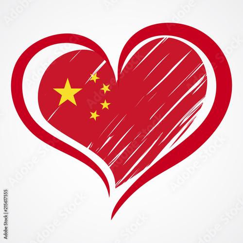 Fotografija  China flag background. Love China emblem