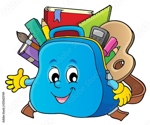 Cadres-photo bureau Enfants Happy schoolbag topic image 1
